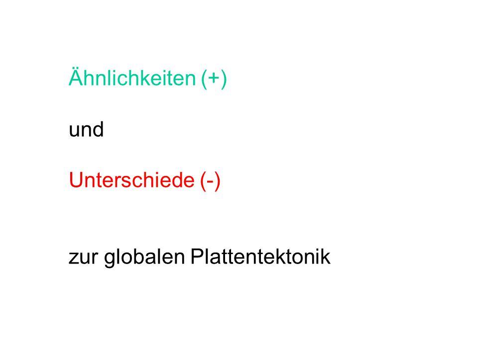Ähnlichkeiten (+) und Unterschiede (-) zur globalen Plattentektonik