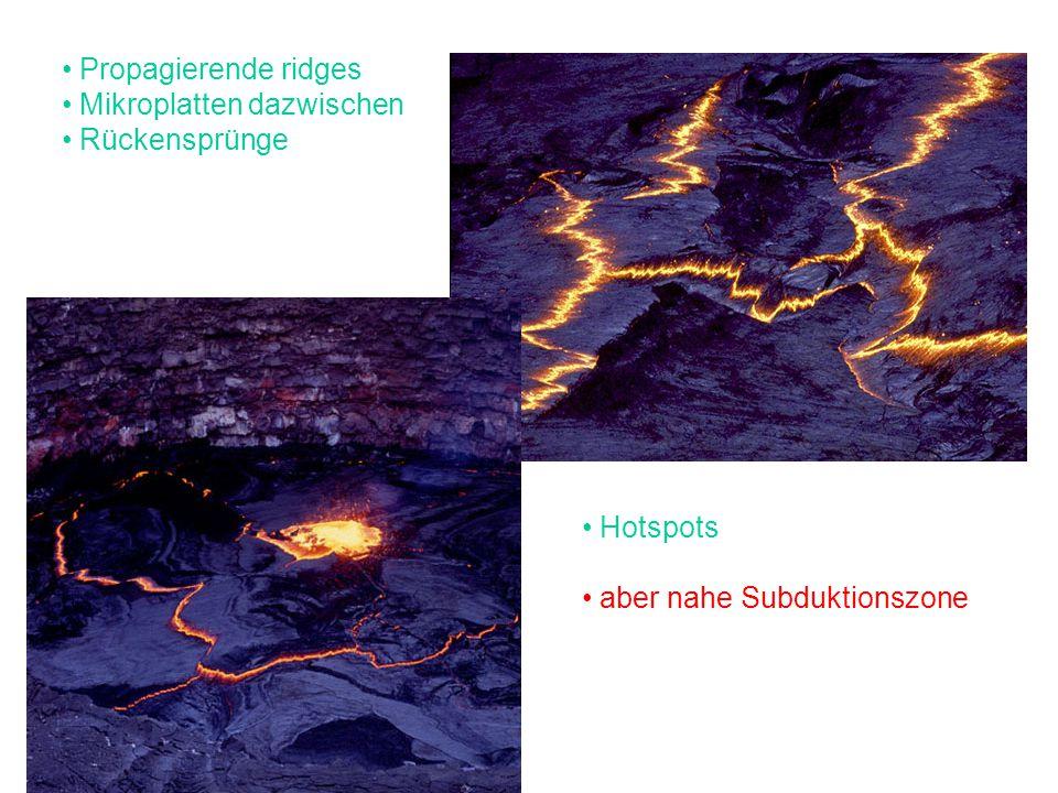 Propagierende ridges Mikroplatten dazwischen Rückensprünge Hotspots aber nahe Subduktionszone