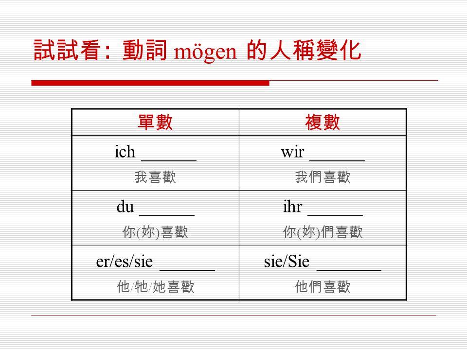 試試看: 動詞 mögen 的人稱變化 單數 複數 ich ______ wir ______ du ______ ihr ______