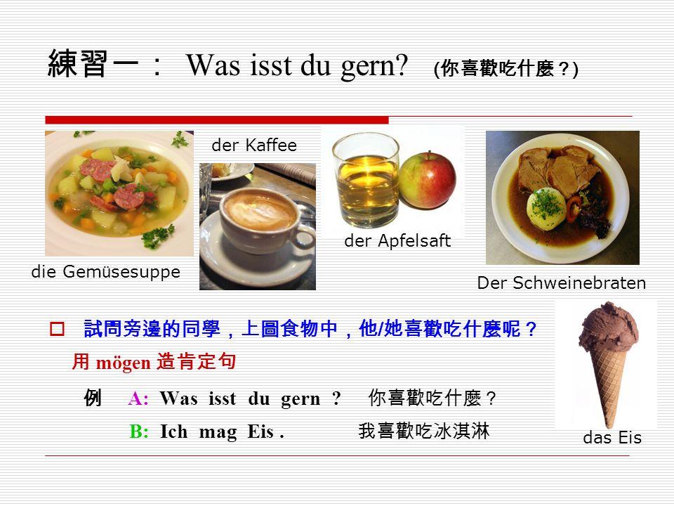 練習一: Was isst du gern (你喜歡吃什麼?)