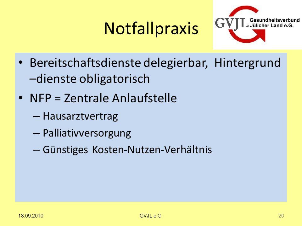 Notfallpraxis Bereitschaftsdienste delegierbar, Hintergrund –dienste obligatorisch. NFP = Zentrale Anlaufstelle.