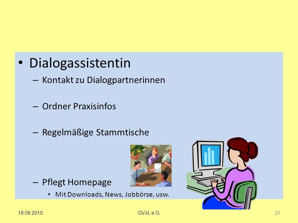 Dialogassistentin Kontakt zu Dialogpartnerinnen Ordner Praxisinfos