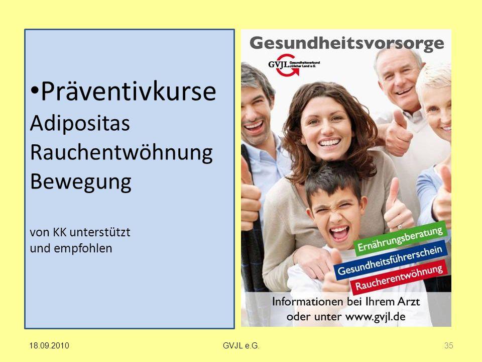 Präventivkurse Adipositas Rauchentwöhnung Bewegung von KK unterstützt und empfohlen
