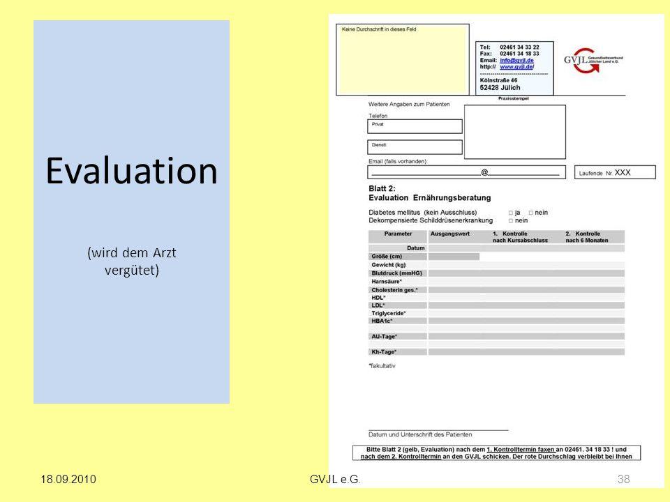 Evaluation (wird dem Arzt vergütet)