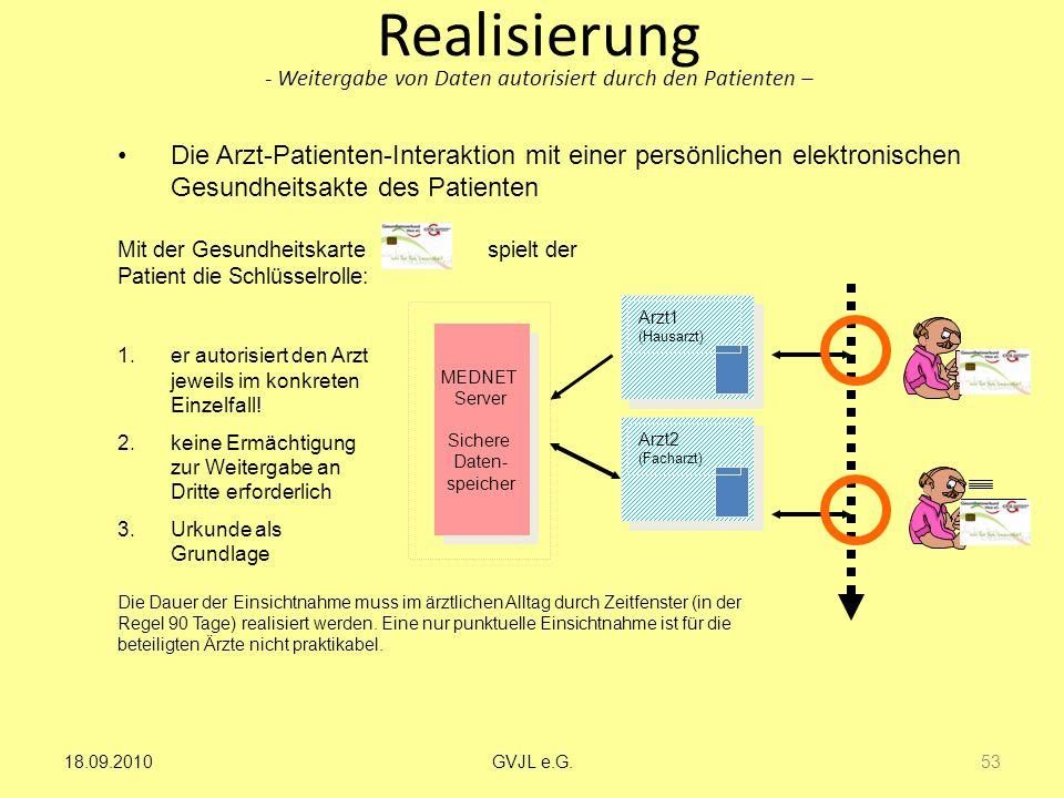 Realisierung - Weitergabe von Daten autorisiert durch den Patienten –