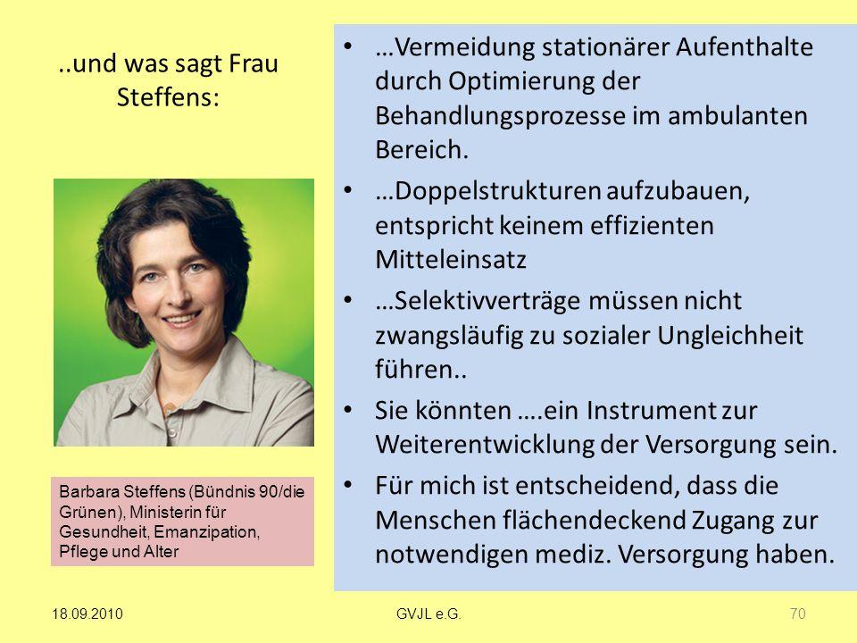..und was sagt Frau Steffens: