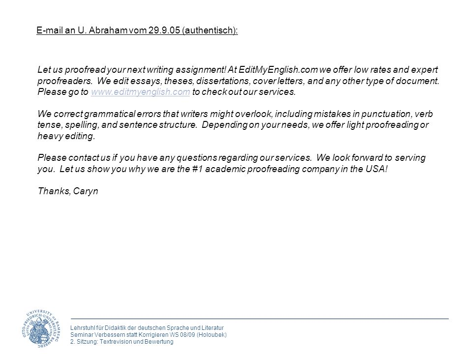 E-mail an U. Abraham vom 29.9.05 (authentisch):