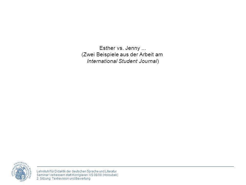 (Zwei Beispiele aus der Arbeit am International Student Journal)