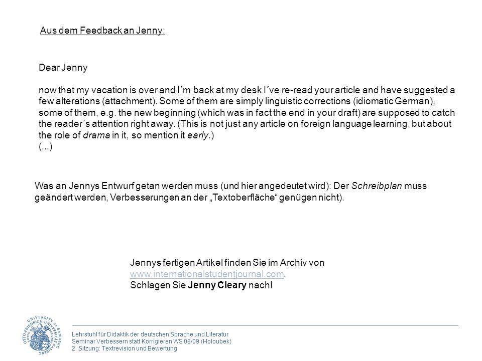 Aus dem Feedback an Jenny: