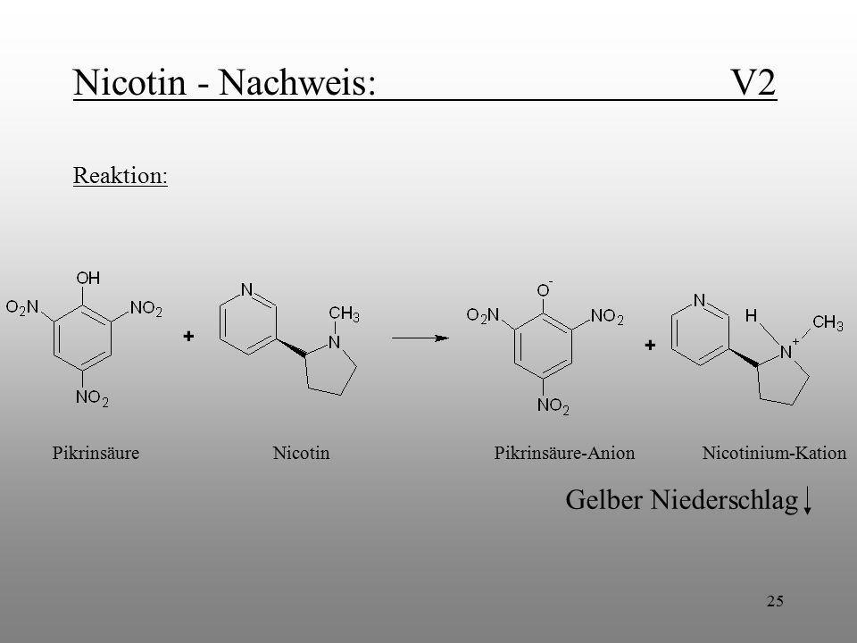 Nicotin - Nachweis: V2 Gelber Niederschlag Reaktion: Pikrinsäure