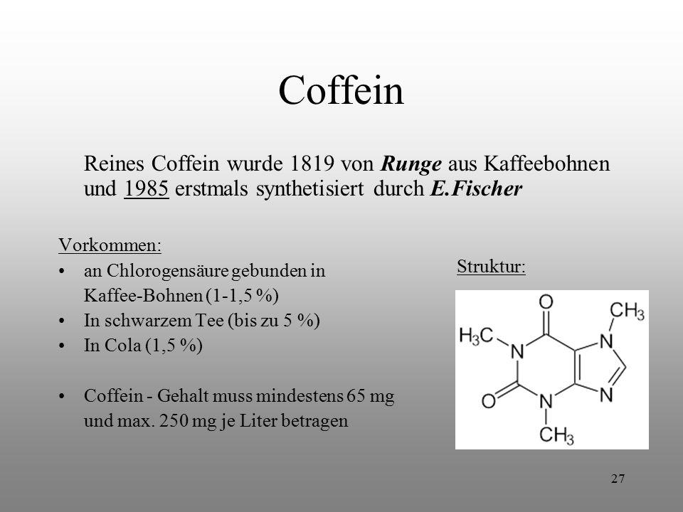 Coffein Reines Coffein wurde 1819 von Runge aus Kaffeebohnen und 1985 erstmals synthetisiert durch E.Fischer.
