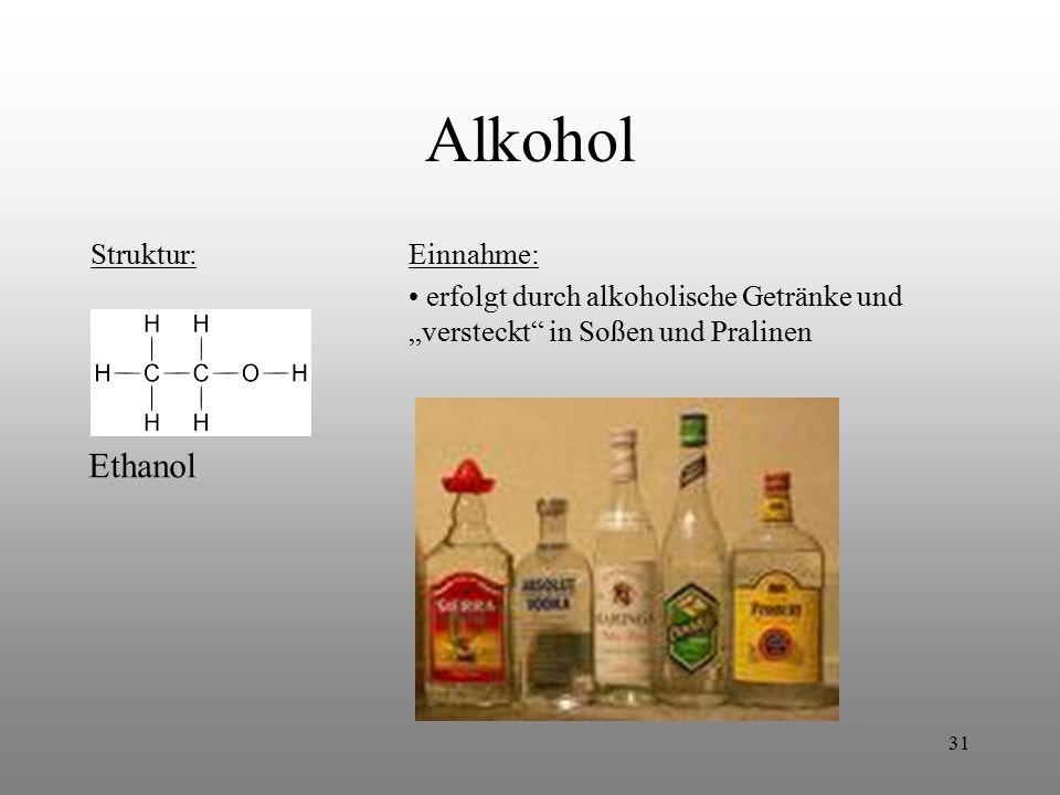 Alkohol Ethanol Struktur: Einnahme: