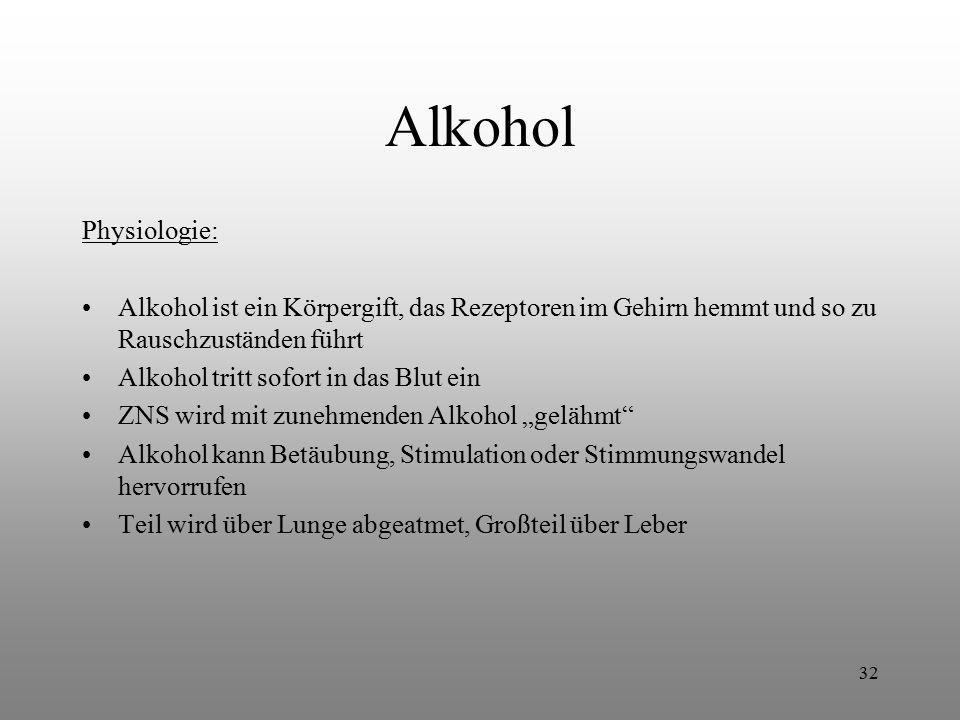 Alkohol Physiologie: Alkohol ist ein Körpergift, das Rezeptoren im Gehirn hemmt und so zu Rauschzuständen führt.