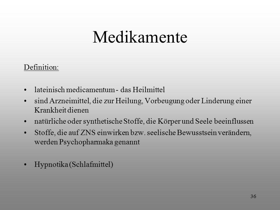 Medikamente Definition: lateinisch medicamentum - das Heilmittel