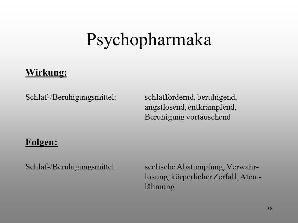 Psychopharmaka Wirkung: Folgen: