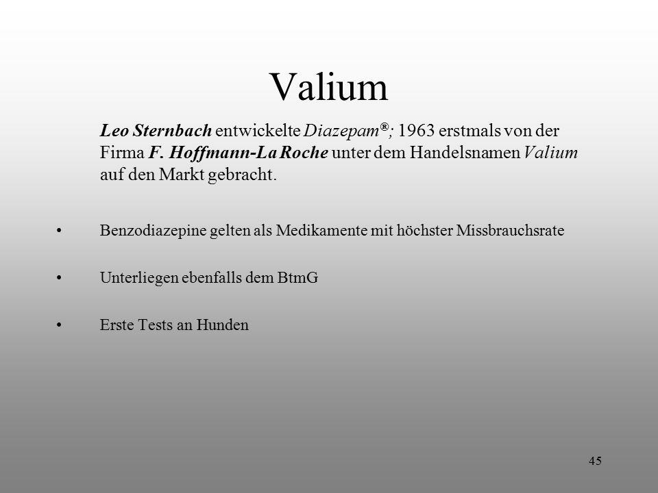 Valium Leo Sternbach entwickelte Diazepam®; 1963 erstmals von der Firma F. Hoffmann-La Roche unter dem Handelsnamen Valium auf den Markt gebracht.