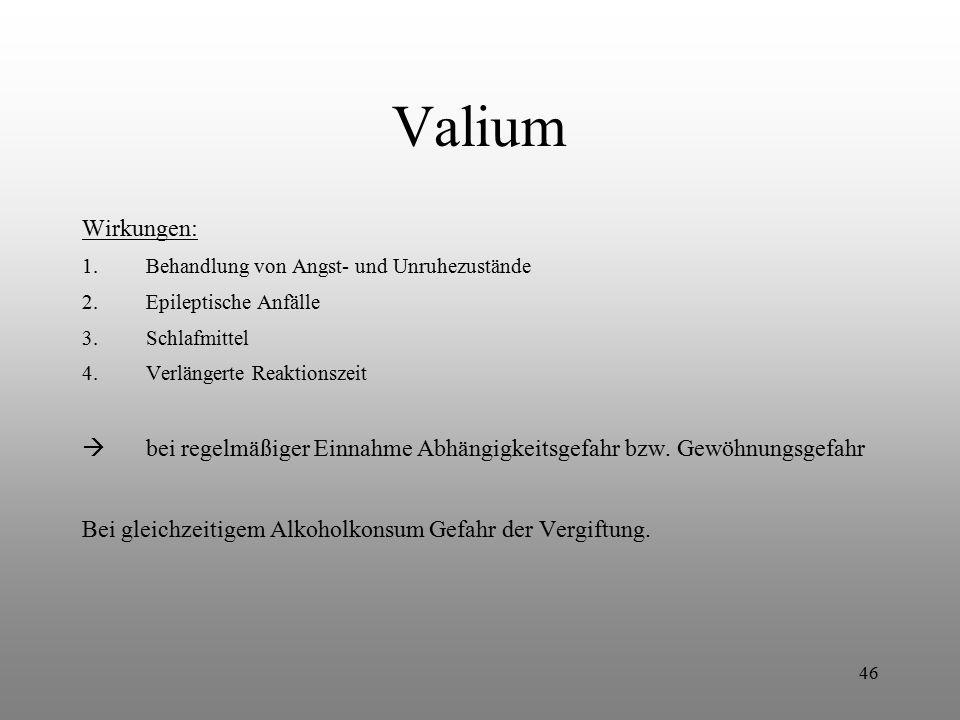 Valium Wirkungen: Behandlung von Angst- und Unruhezustände. Epileptische Anfälle. Schlafmittel. Verlängerte Reaktionszeit.
