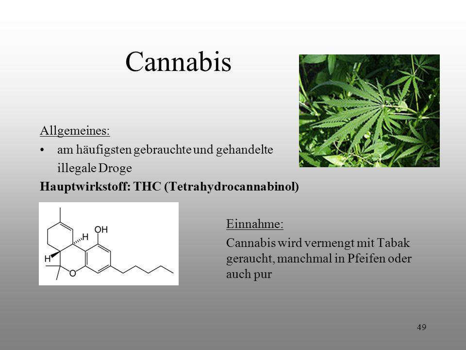 Cannabis Allgemeines: am häufigsten gebrauchte und gehandelte