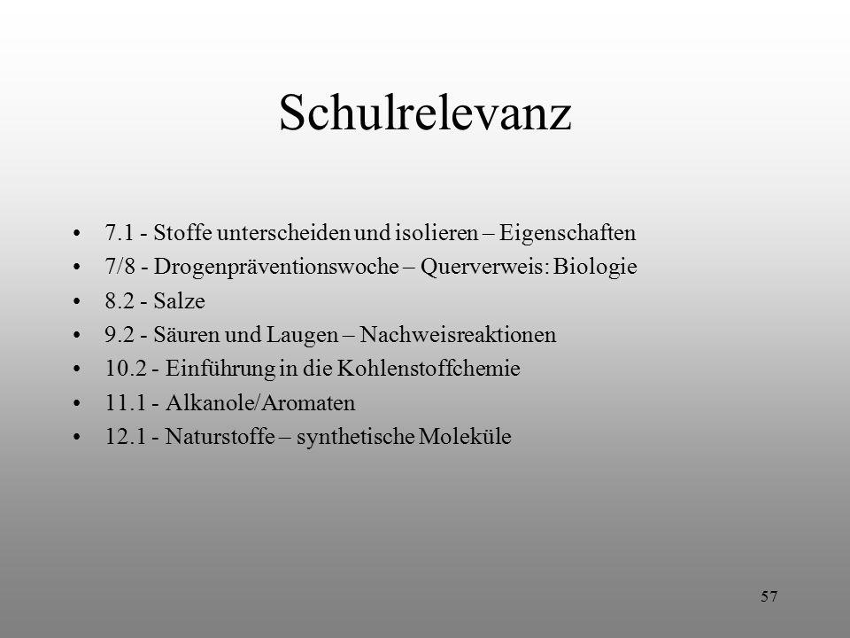 Schulrelevanz 7.1 - Stoffe unterscheiden und isolieren – Eigenschaften