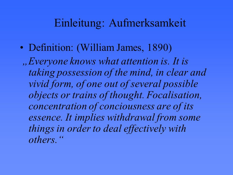 Einleitung: Aufmerksamkeit