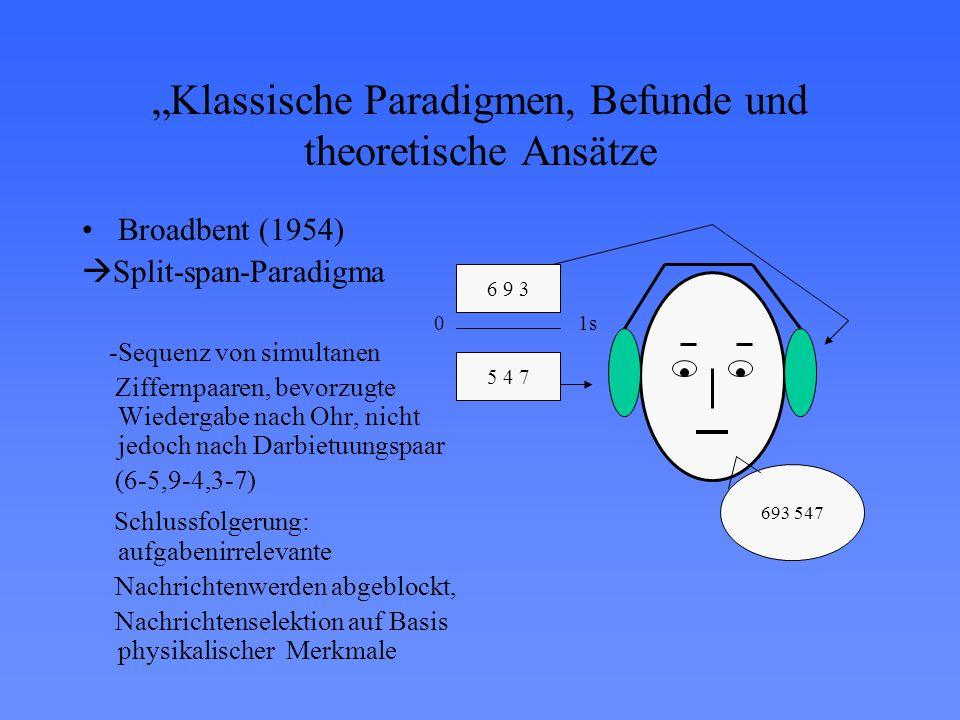 """""""Klassische Paradigmen, Befunde und theoretische Ansätze"""