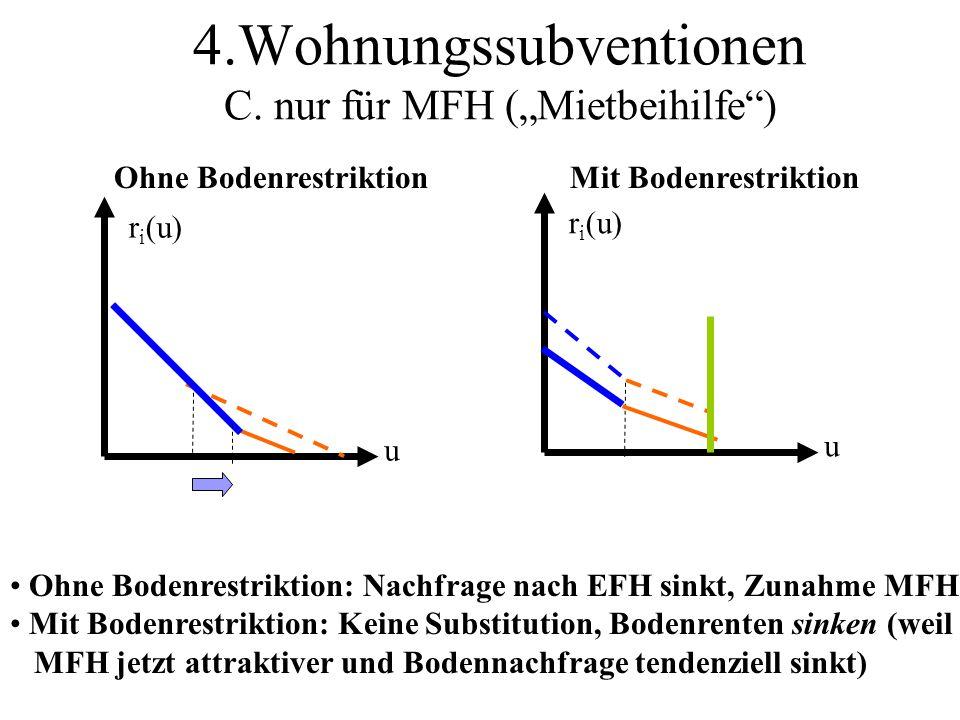 """4.Wohnungssubventionen C. nur für MFH (""""Mietbeihilfe )"""