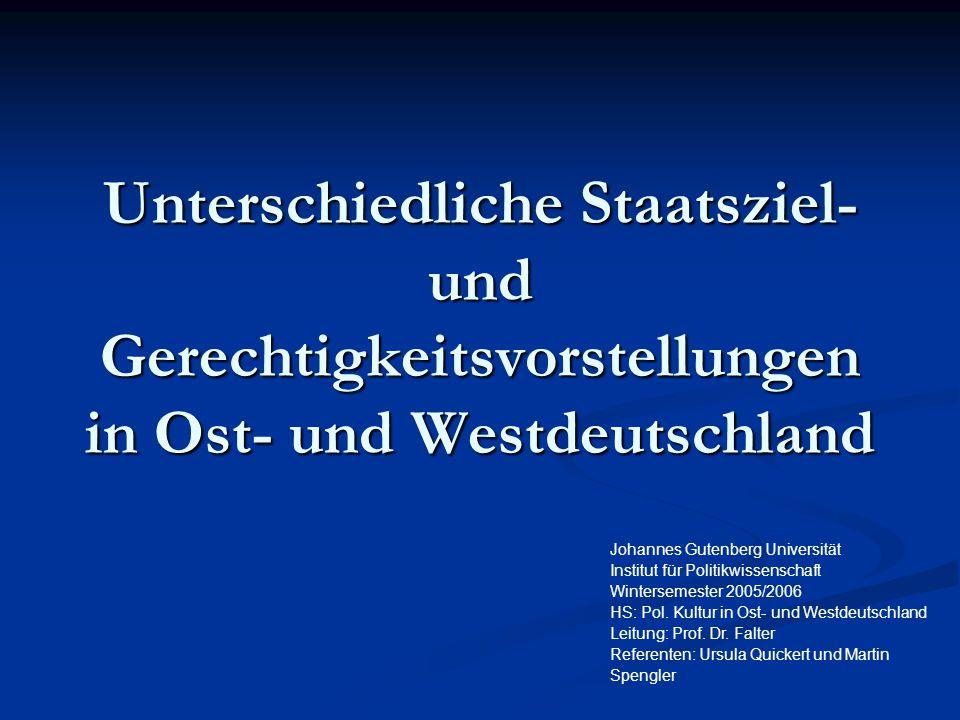 Unterschiedliche Staatsziel- und Gerechtigkeitsvorstellungen in Ost- und Westdeutschland