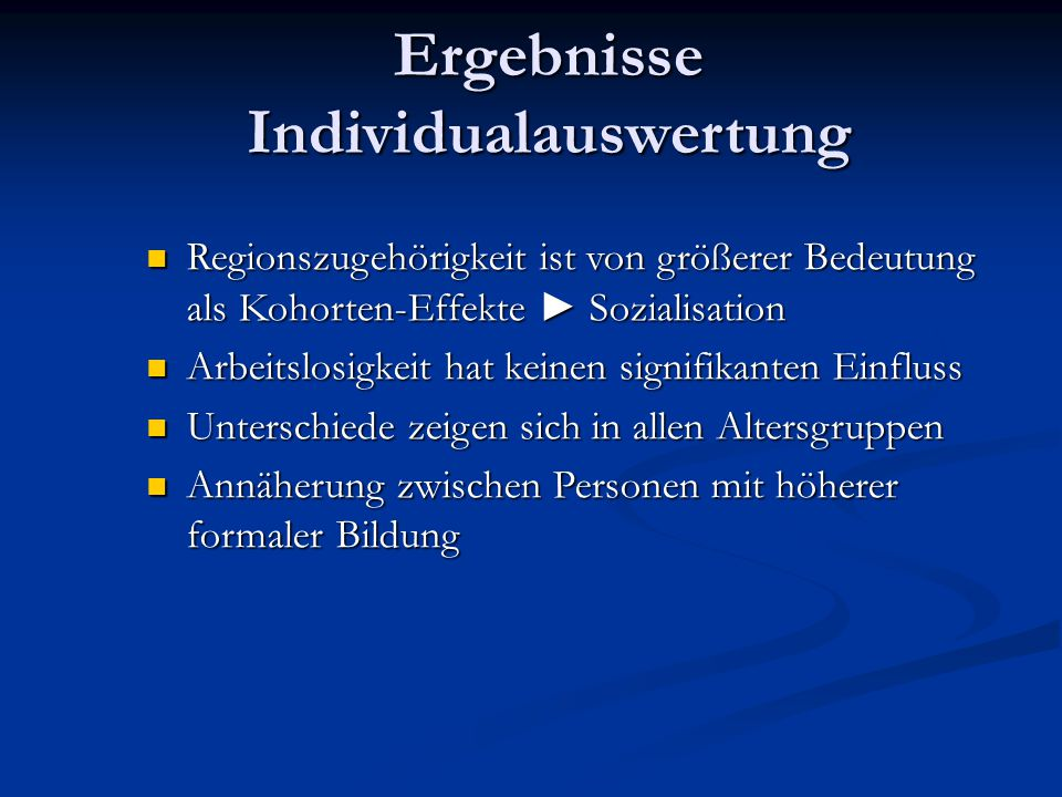 Ergebnisse Individualauswertung