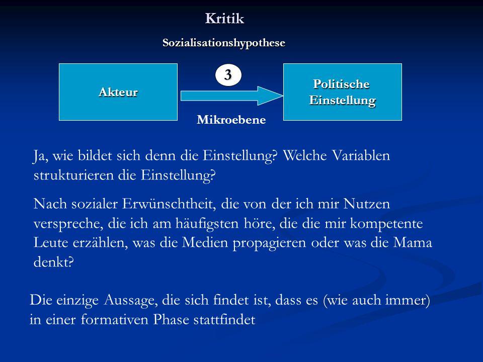 Kritik Sozialisationshypothese. Akteur. Politische. Einstellung. 3. Mikroebene.