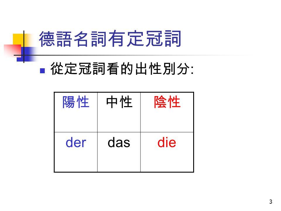 德語名詞有定冠詞 從定冠詞看的出性別分: 陽性 中性 陰性 der das die