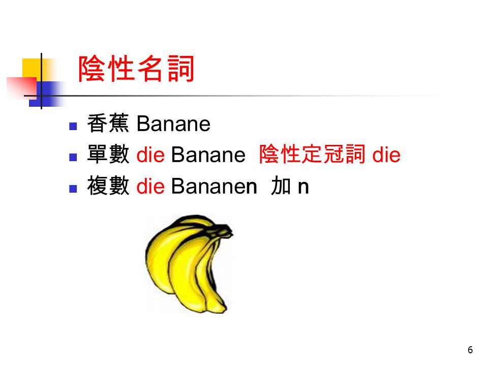 陰性名詞 香蕉 Banane 單數 die Banane 陰性定冠詞 die 複數 die Bananen 加 n