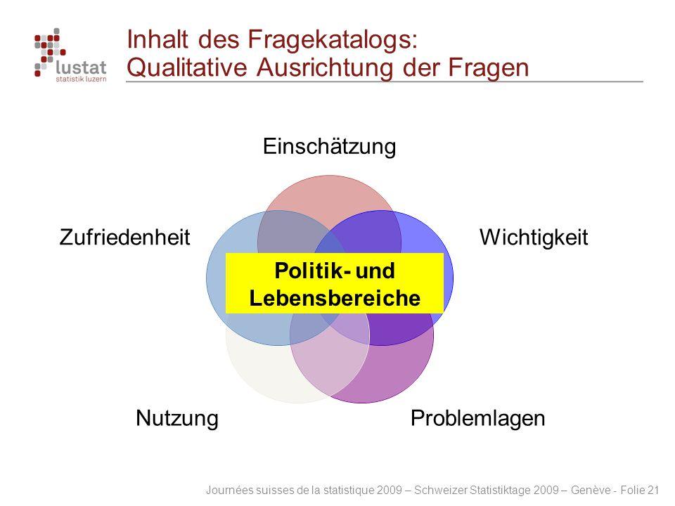 Inhalt des Fragekatalogs: Qualitative Ausrichtung der Fragen