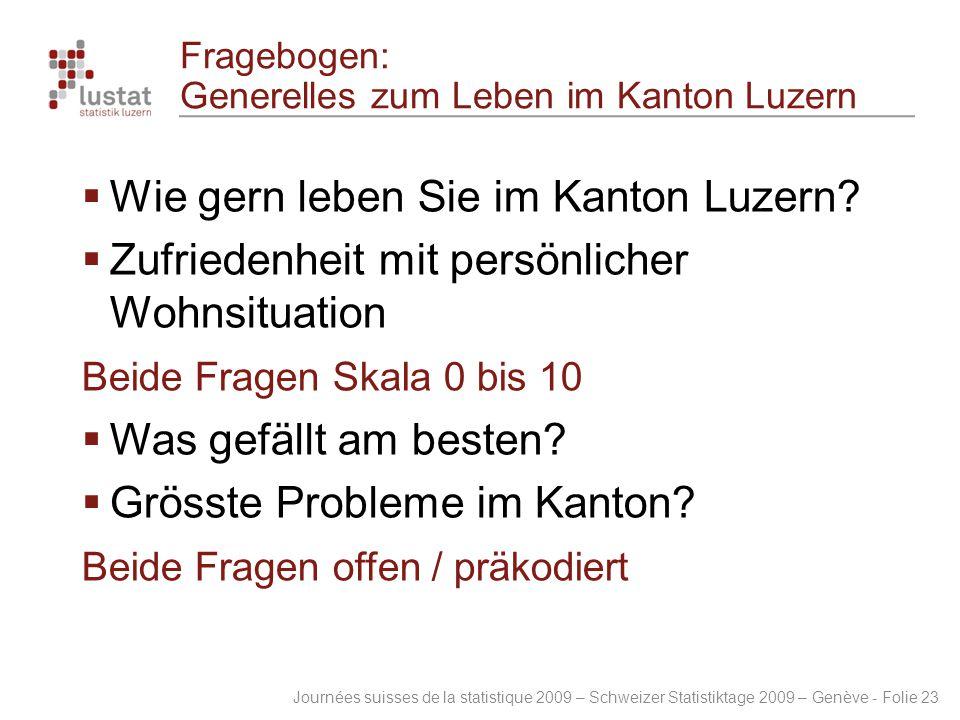 Fragebogen: Generelles zum Leben im Kanton Luzern