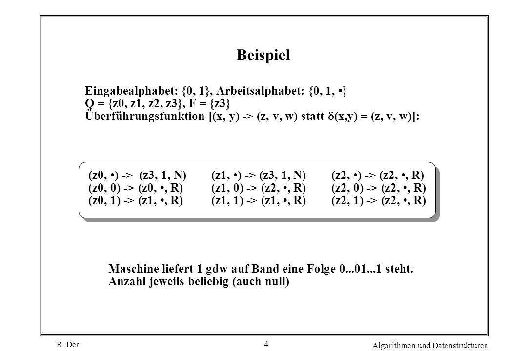 Beispiel Eingabealphabet: {0, 1}, Arbeitsalphabet: {0, 1, •}
