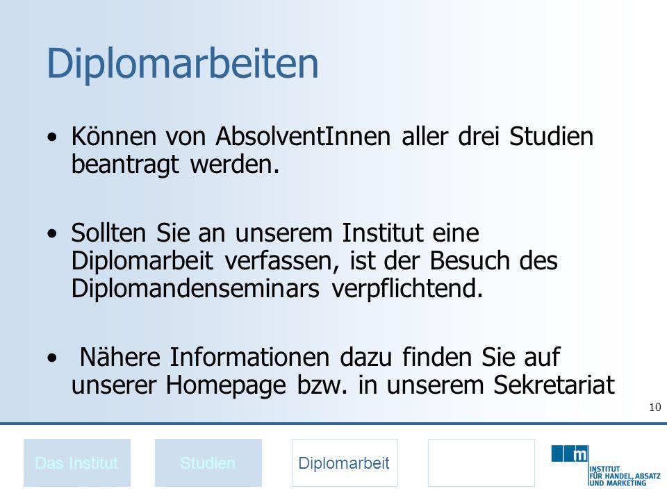 Diplomarbeiten Können von AbsolventInnen aller drei Studien beantragt werden.