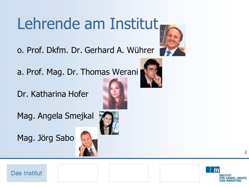 Lehrende am Institut o. Prof. Dkfm. Dr. Gerhard A. Wührer