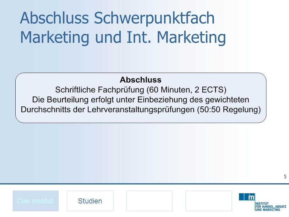 Abschluss Schwerpunktfach Marketing und Int. Marketing