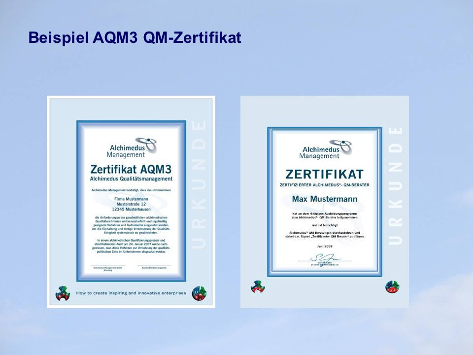Beispiel AQM3 QM-Zertifikat