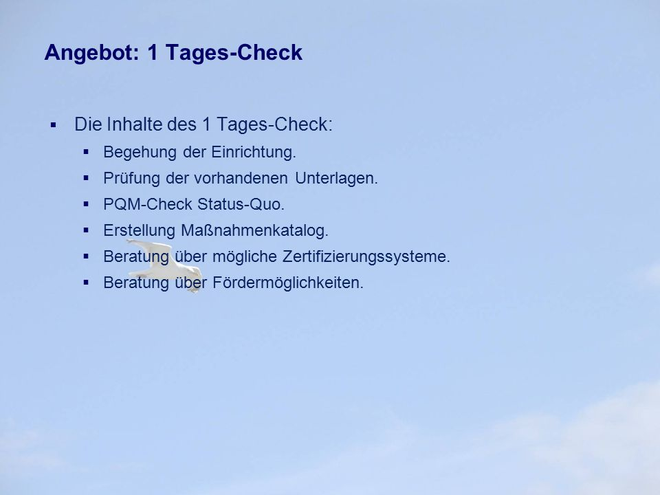 Angebot: 1 Tages-Check Die Inhalte des 1 Tages-Check: