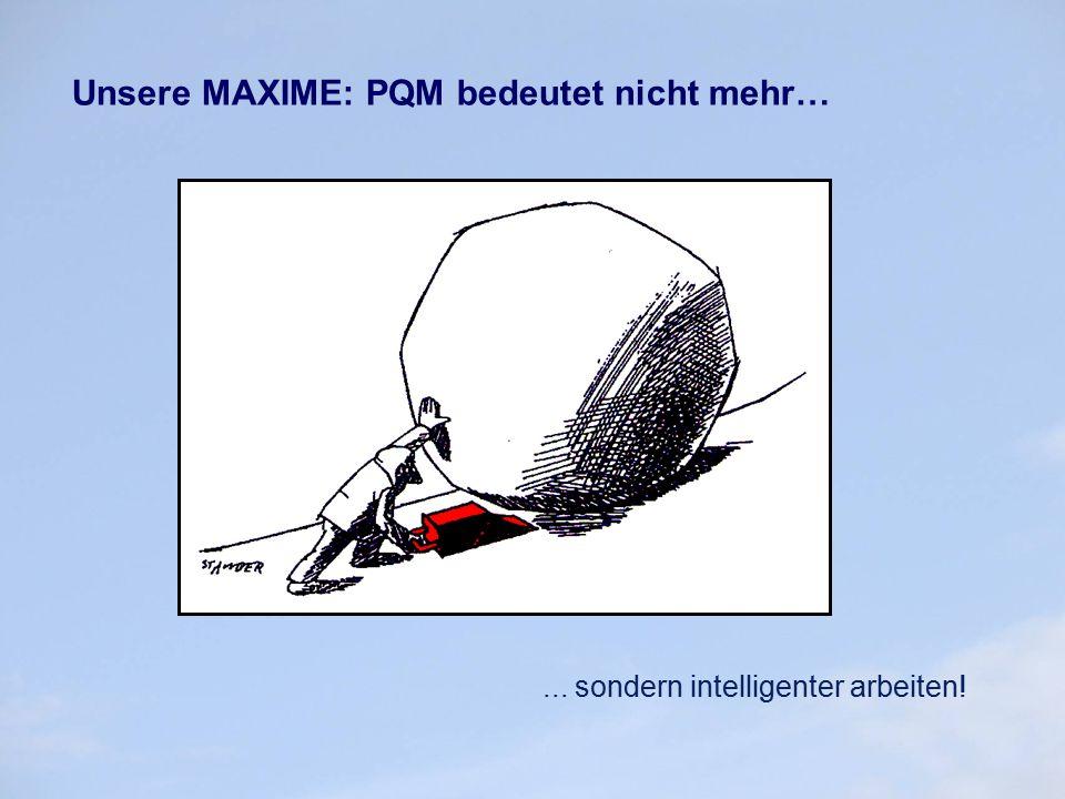 Unsere MAXIME: PQM bedeutet nicht mehr…