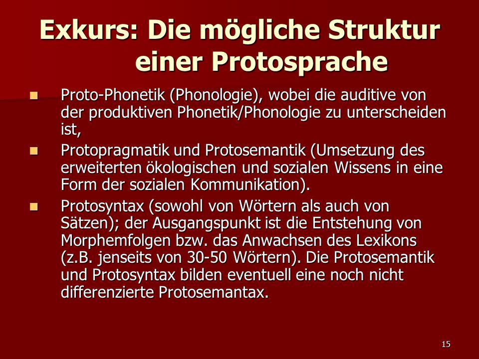 Exkurs: Die mögliche Struktur einer Protosprache
