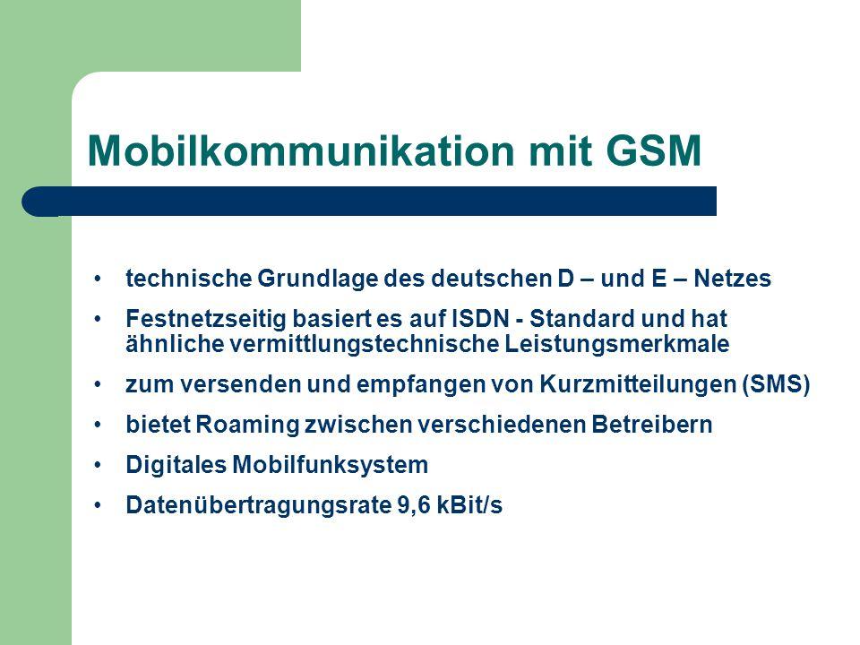 Mobilkommunikation mit GSM