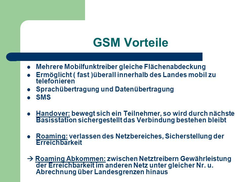 GSM Vorteile Mehrere Mobilfunktreiber gleiche Flächenabdeckung