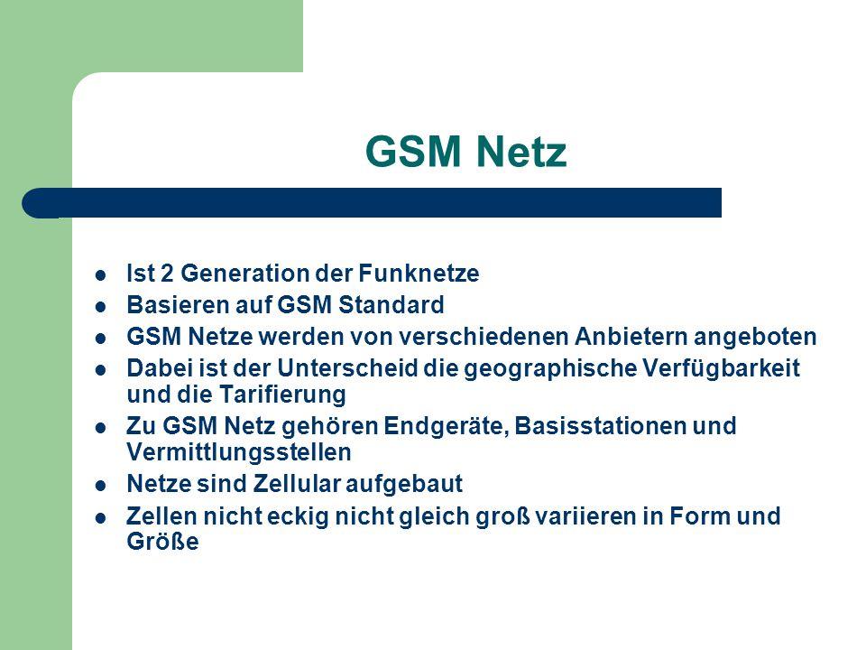 GSM Netz Ist 2 Generation der Funknetze Basieren auf GSM Standard