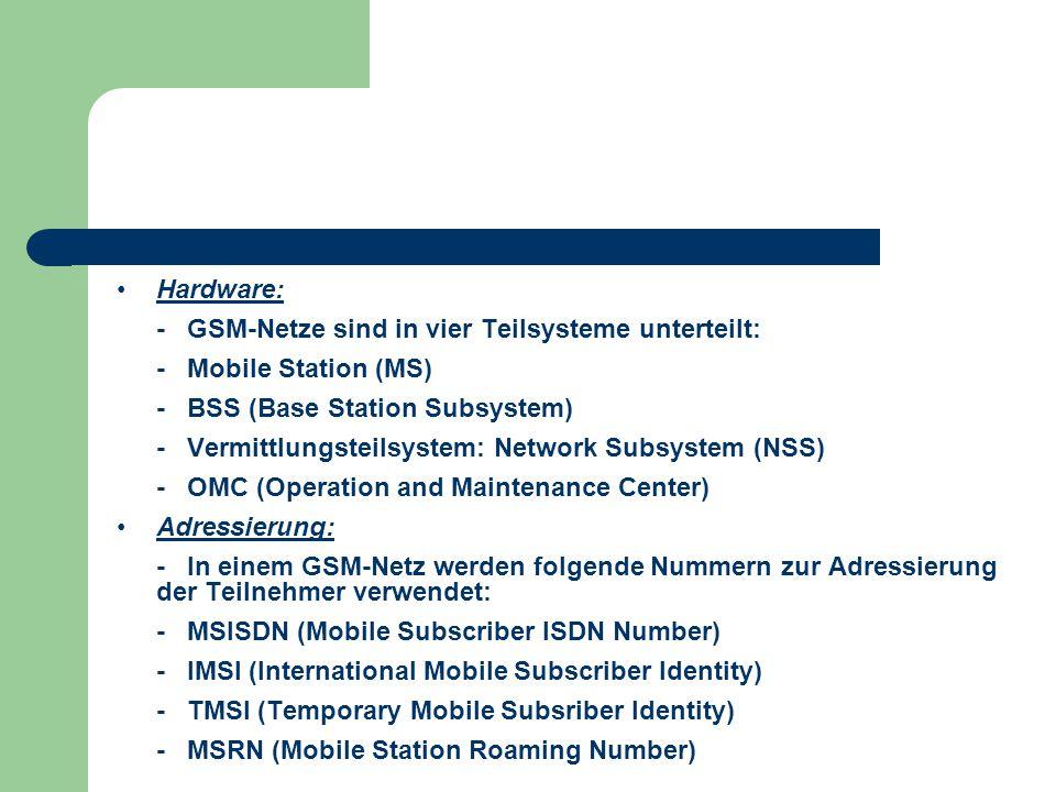 Hardware: - GSM-Netze sind in vier Teilsysteme unterteilt: - Mobile Station (MS) - BSS (Base Station Subsystem)