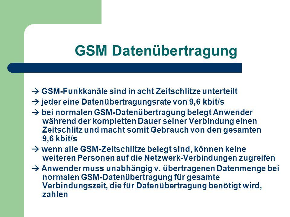 GSM Datenübertragung  GSM-Funkkanäle sind in acht Zeitschlitze unterteilt.  jeder eine Datenübertragungsrate von 9,6 kbit/s.
