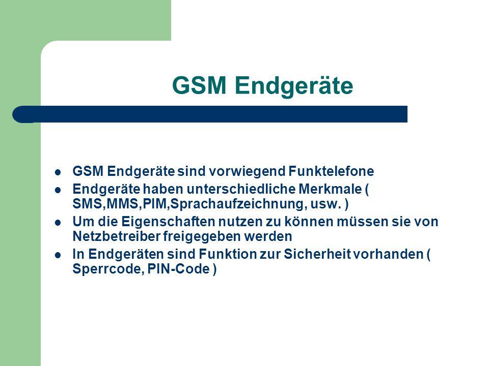 GSM Endgeräte GSM Endgeräte sind vorwiegend Funktelefone