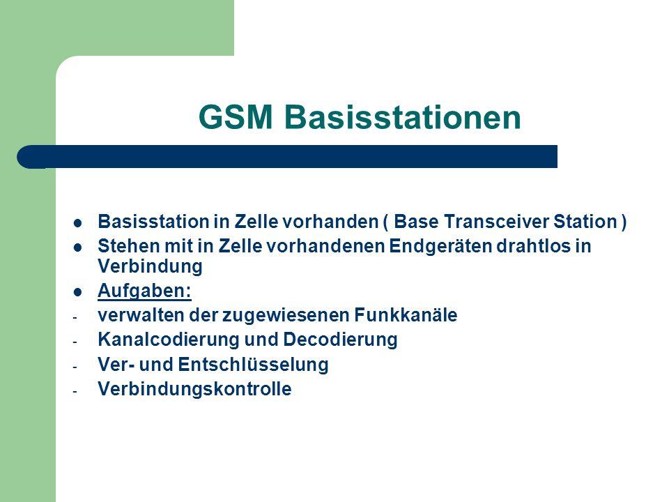 GSM Basisstationen Basisstation in Zelle vorhanden ( Base Transceiver Station ) Stehen mit in Zelle vorhandenen Endgeräten drahtlos in Verbindung.