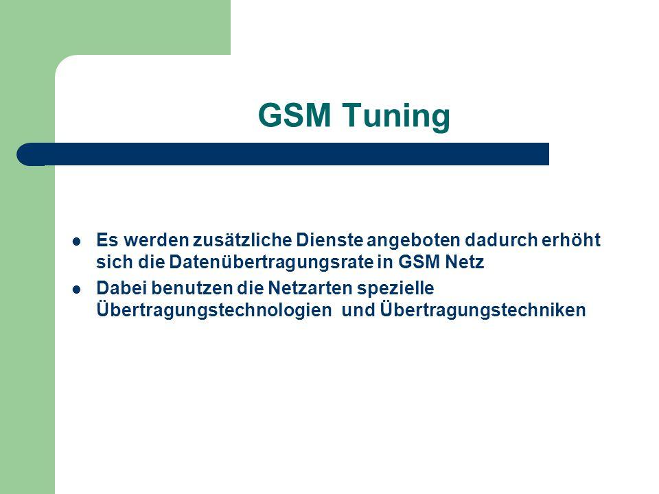 GSM Tuning Es werden zusätzliche Dienste angeboten dadurch erhöht sich die Datenübertragungsrate in GSM Netz.