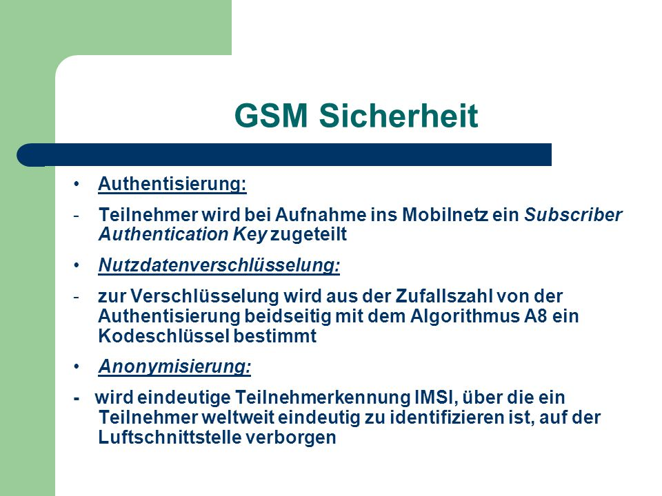 GSM Sicherheit Authentisierung: